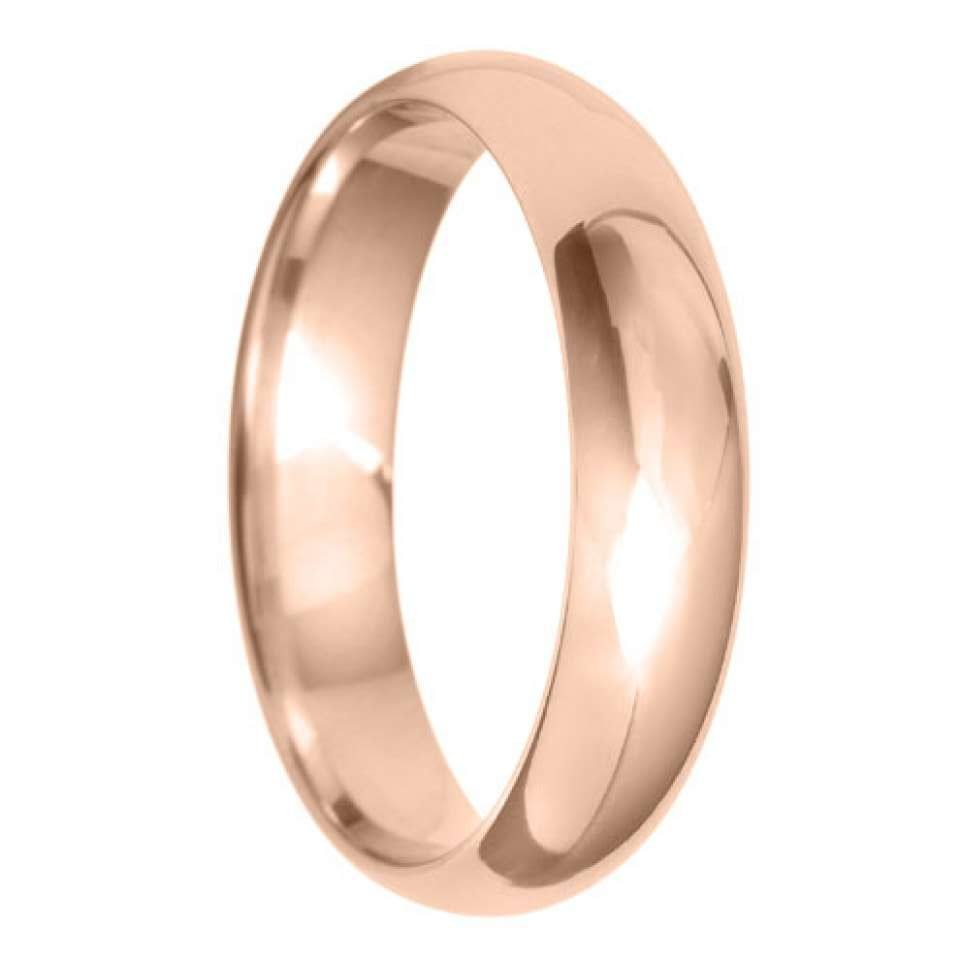 5mm D Shape Light Wedding Ring in 9ct Yellow Gold