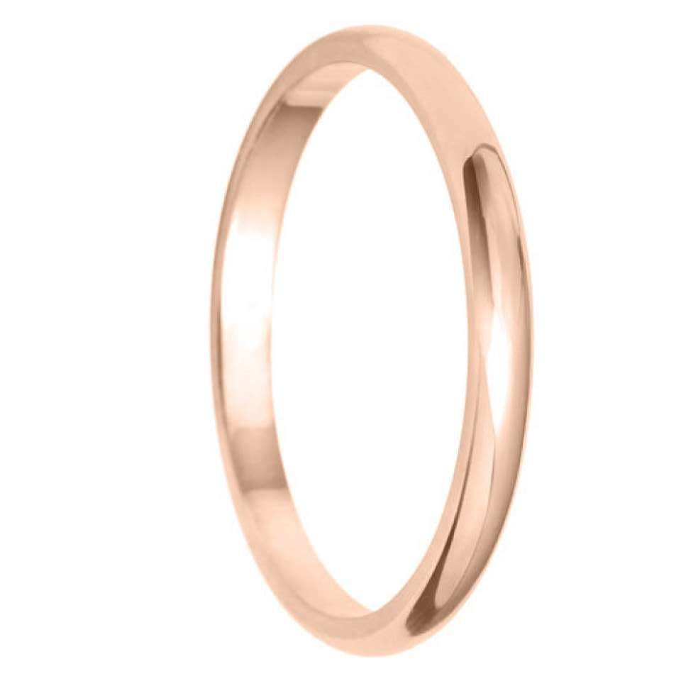 2mm D Shape Light Wedding Ring in 9ct Yellow Gold