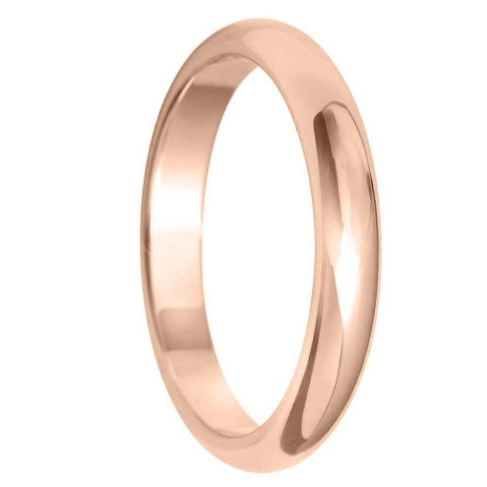 2.5mm D Shape Light Wedding Ring in 9ct Yellow Gold
