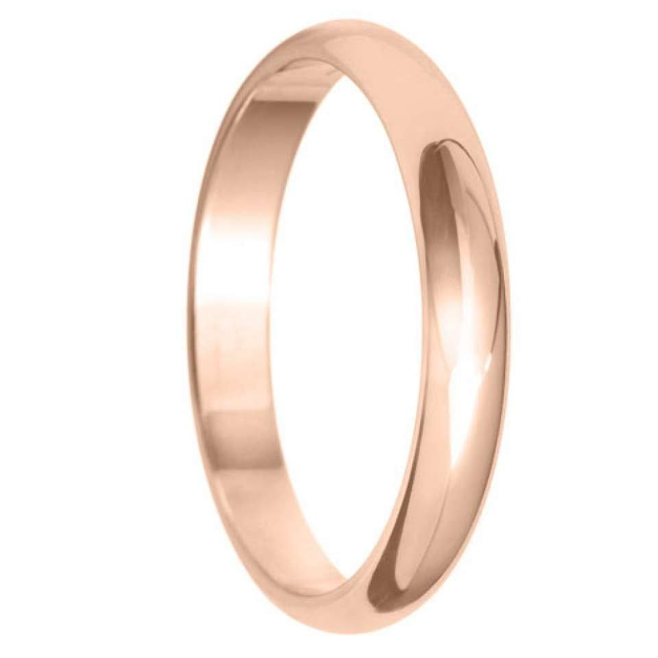 3mm D Shape Light Wedding Ring in 9ct Yellow Gold
