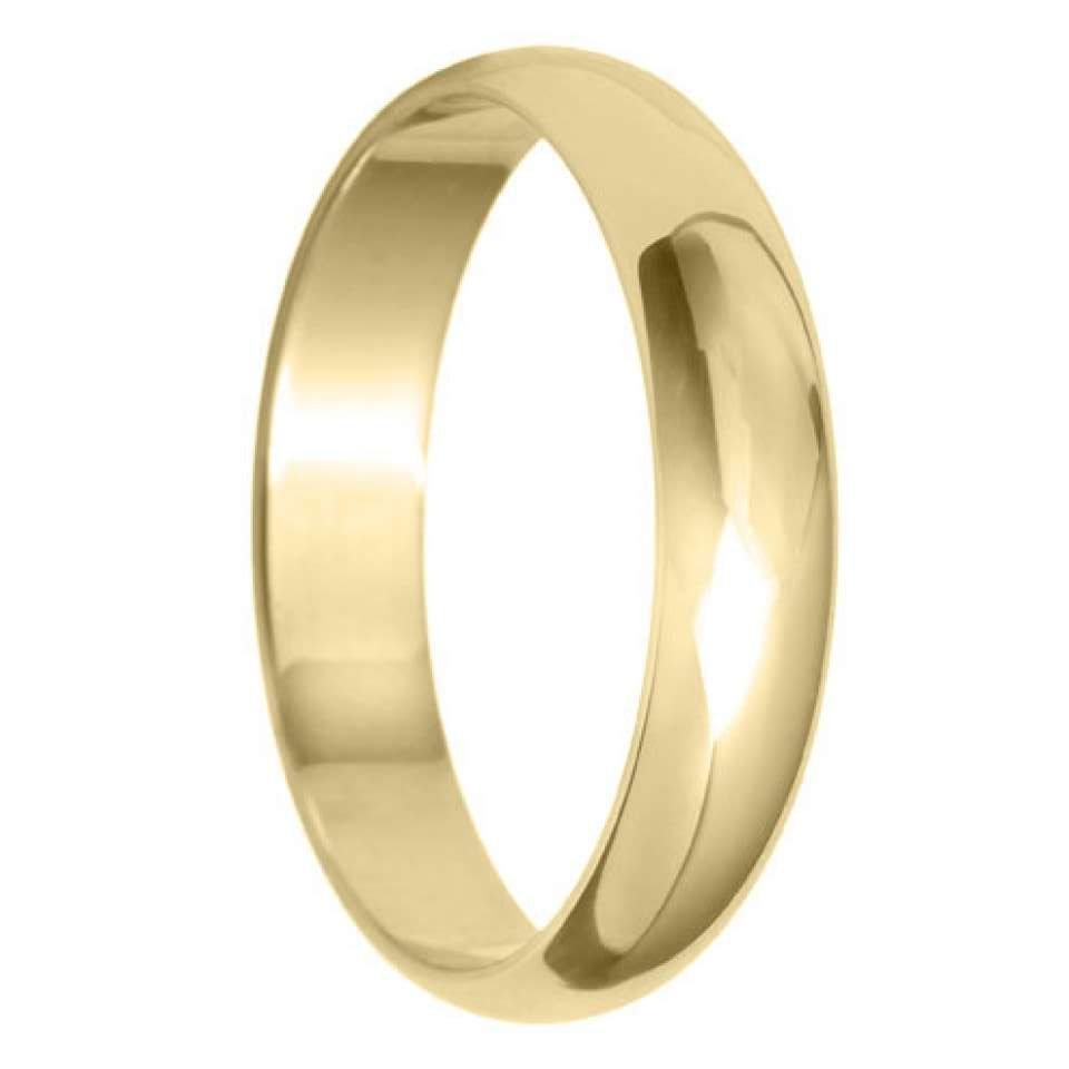4mm D Shape Light Wedding Ring in 9ct Yellow Gold