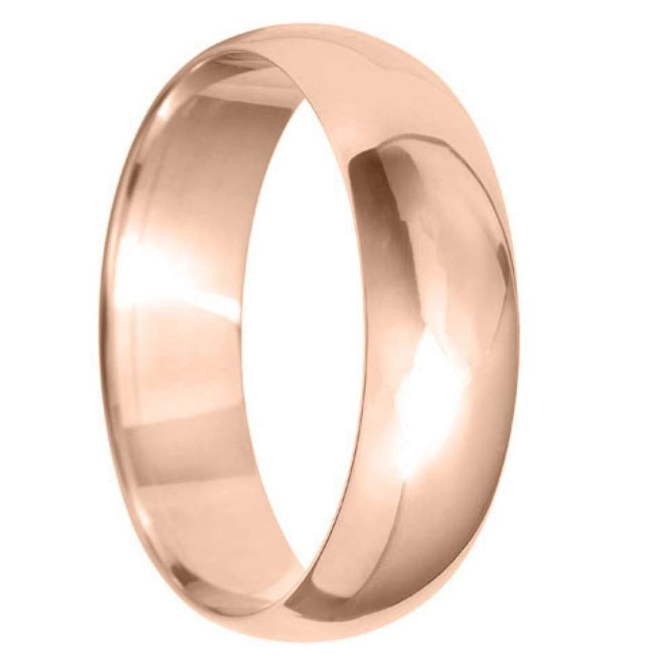 6mm D Shape Light Wedding Ring in 9ct Yellow Gold